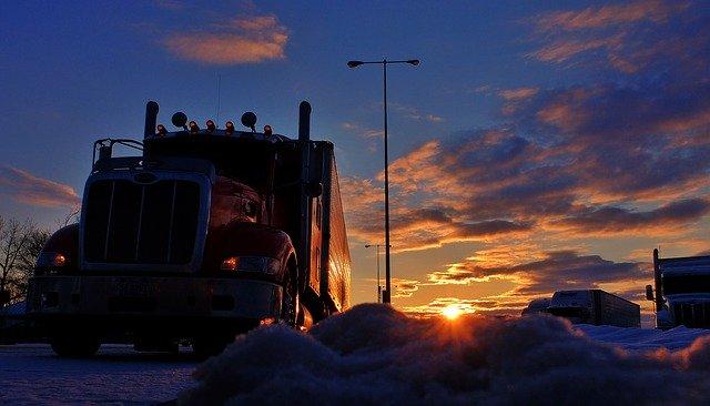 zima v kamionu